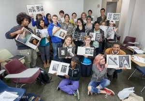 Professor Harris Fogel's photography students with library books they selected.