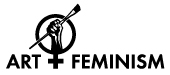 "Art + Feminism Campaign Logo featuring a hand holding a paintbrush inside a Venus symbol. The bottom of the Venus symbol is used as a plus sign in the phrase ""Art + Feminism""."