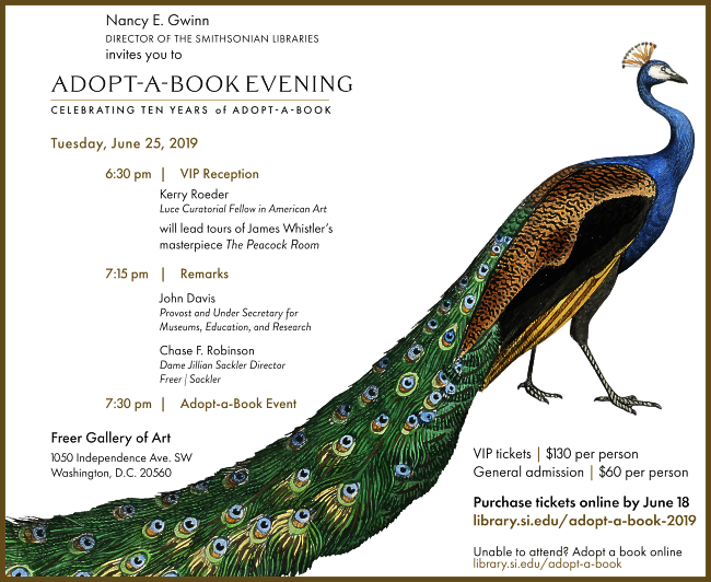 Invitation details for Smithsonian's 2019 adopt a book event. Includes an illustration of a peacock.